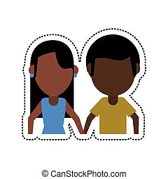 cartoon couple afro american lovely vector illustration eps...