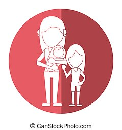 mother carrying baby and daughter shadow vector illustration...