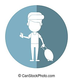 man traveling passport dragging luggage shadow vector...