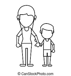 mom and son holding hands thin line
