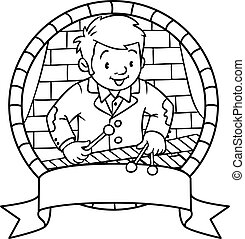 Funny musician or xylophone player. Emblem - Coloring book...