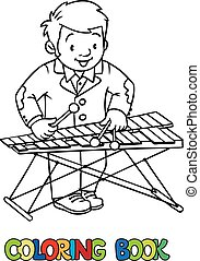 Funny musician or xylophone player. Coloring book - Coloring...