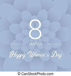 8 March. Floral Greeting card. International Happy Women's Day. Paperholiday background with space for text. Trendy Design Template. Vector illustration.