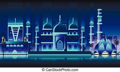 India city night neon style architecture buildings town...