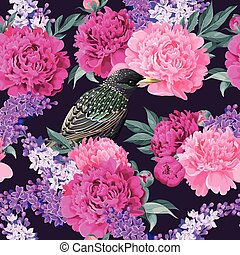 Seamless varicolored peonies - High detailed varicolored...