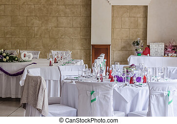 decorated tables at a wedding