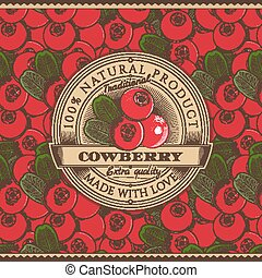 Vintage Cowberry Label On Seamless Pattern - Vector label on...