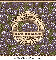 Vintage Blackberry Label On Seamless Pattern - Vector label...