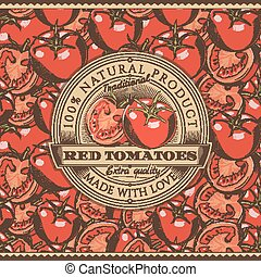 Vintage Red Tomatoes Label On Seamless Pattern - Vector...