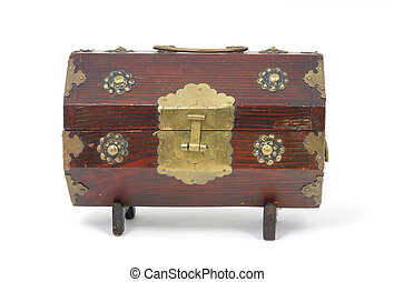 Old wood curio box - An old wood box with metal hinges and a...