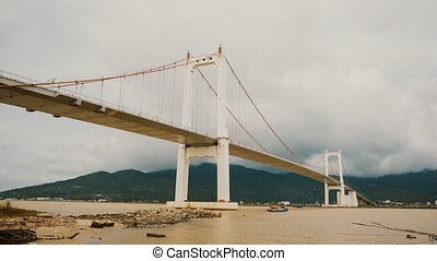 Timelapse Thuan Phuoc bridge in Da Nang city, Vietnam. -...