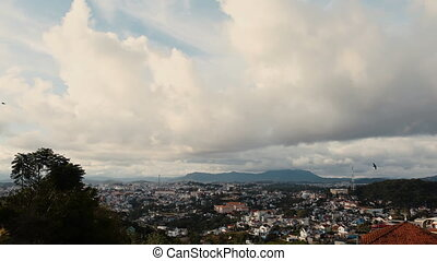 A view of the city of Dalat, Vietnam. Timelapse.