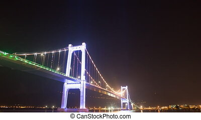 Thuan Phuoc Bridge at night. Da Nang, Vietnam. - Da Nang,...