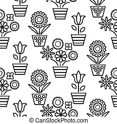 Black and white line flower pots seamless vector. Floral...