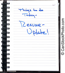 Note to update resume - Hand written note reminding oneself...