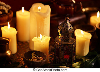 Body oil sensual lotion candles with aroma lamp.