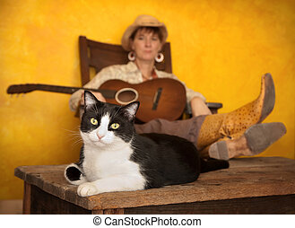 Pretty Western Woman with Guitar and cat - Pretty western...