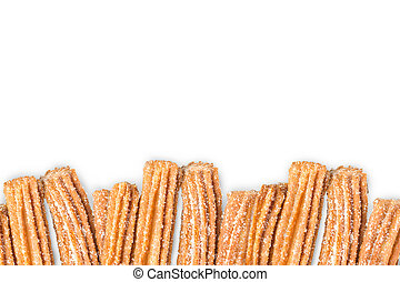 Churros arranged in row isolated on white background