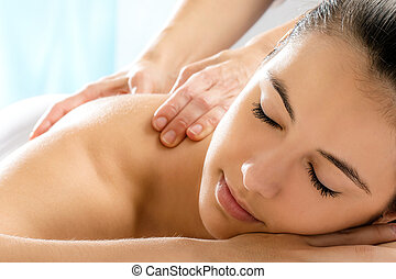 Woman with relaxing face expression in spa. - Close up...