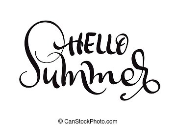 Hello Summer text isolated on white background. calligraphy...