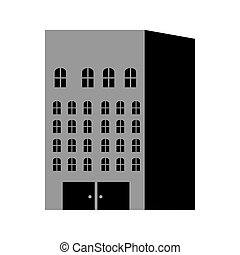 silhouette monochrome with building apartments and offices