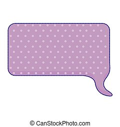 sticker callout for dialogue shape of rectangle with purple background and dots