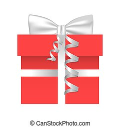 colorful gift box with silver ribbon