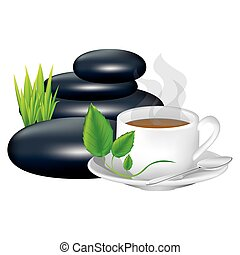 color background with hot cup of tea