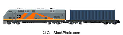 Locomotive with Cargo Container Isolated - Locomotive with...