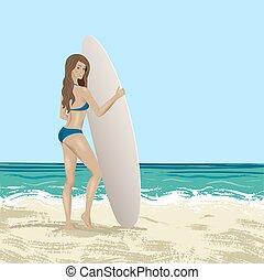 Illustration of surfer