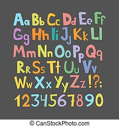 Funny comics font. Hand drawn lowcase and uppercase colorful cartoon English alphabet with lower and uppercase letters. Vector illustration