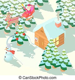 Christmas house concept, cartoon style - Christmas house...