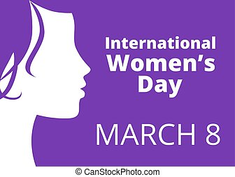 International womens day greetings with woman profile
