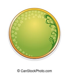 Medallion, frame with leaves of clover and design elements for St. Patricks Day. St. Patricks Day frame
