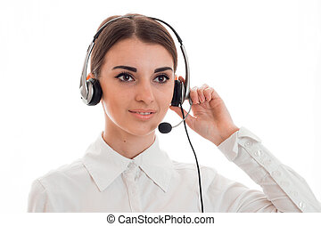 Portrait of a young beautiful girl in headphones with...