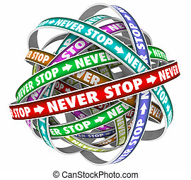 Never Stop Endless Cycle Determination Constant Forward...