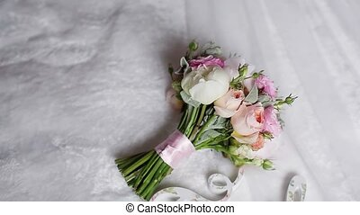Bouquet with white and pink peonies and family word