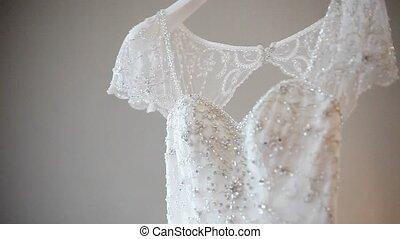 Wedding dress in room shot