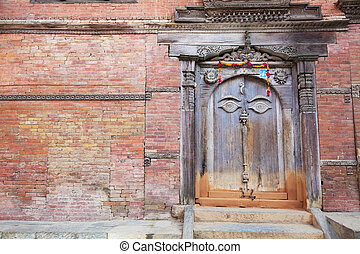 Ancient Buddha's All Seeing Eye Door, Kathmandu, Nepal -...