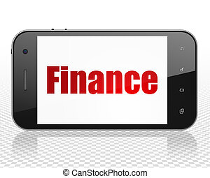Business concept: Smartphone with Finance on display