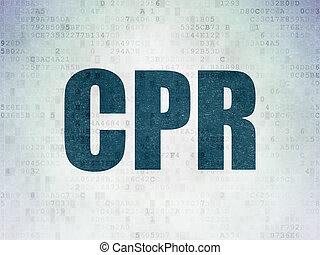 Medicine concept: CPR on Digital Data Paper background -...