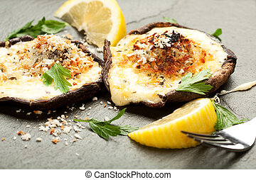 Cheese Stuffed Mushrooms - Mushrooms stuffed with four...