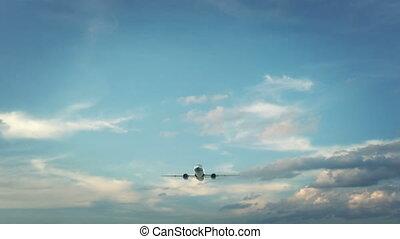 Airplane Landing Boston USA - Real 3d render of airplane...