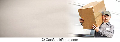 Delivery postman with a box - Professional delivery postman...
