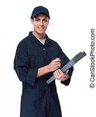 Car mechanic. - Young handsome car mechanic with clipboard...