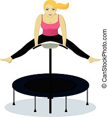 Fitness on trampoline vector isolated illustration