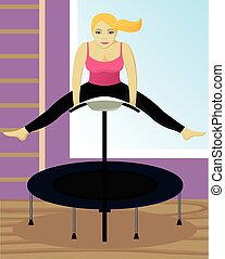 Fitness on trampoline in gym vector isolated illustration