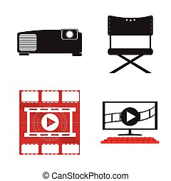 Set of cinema objects