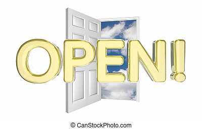 Open Door Word New Business Grand Opening 3d Illustration