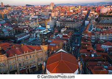 Bird's-eye view of old Porto downtown, Portugal.
